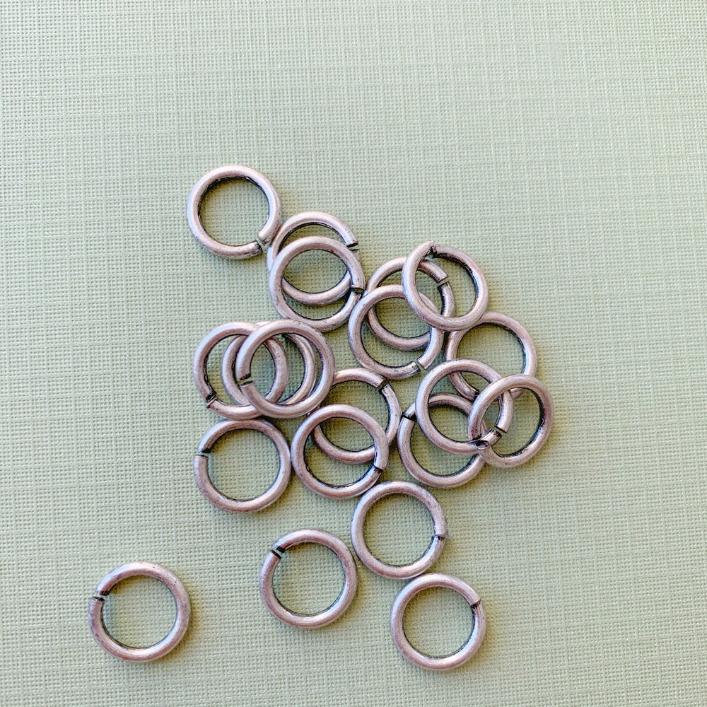 12mm Heavy Duty Open Jump Ring Distressed Silver - Pack of 20 - Christine White Style
