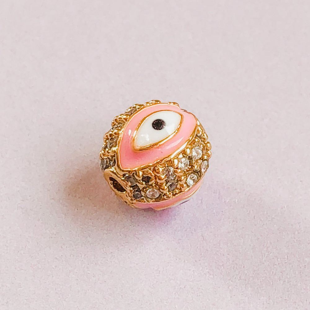 Load image into Gallery viewer, 7mm Pink Electroplated Gold Pave Evil Eye Round Bead