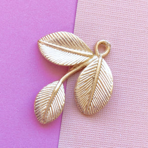 Brushed Gold Botanical Charm - 4 Pack - Christine White Style