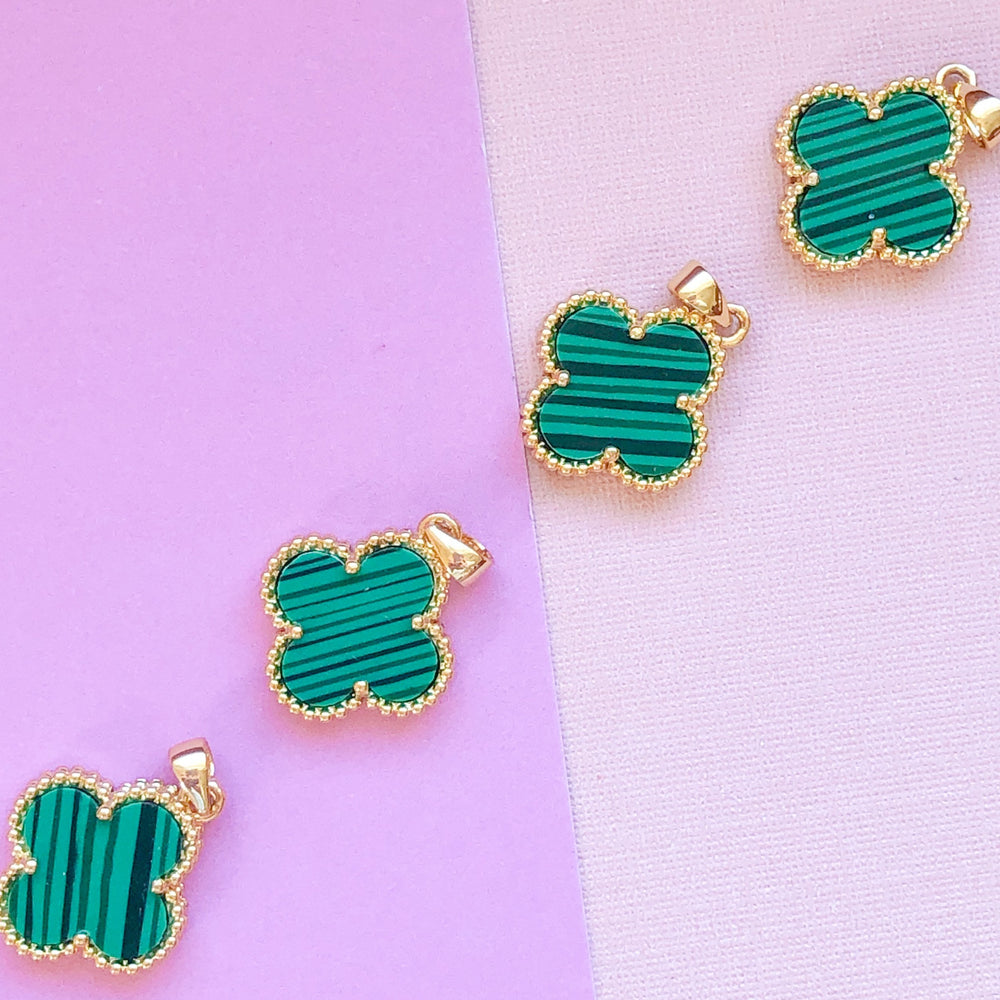 16mm Malachite Gemstone Quatrefoil Iconic Bezel Charm