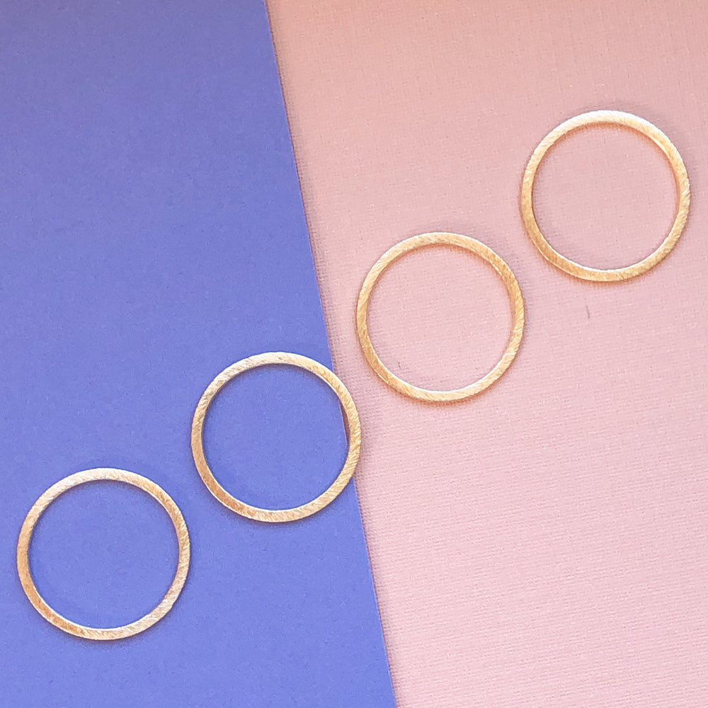 24mm Brushed Gold Circles - 4 Pack