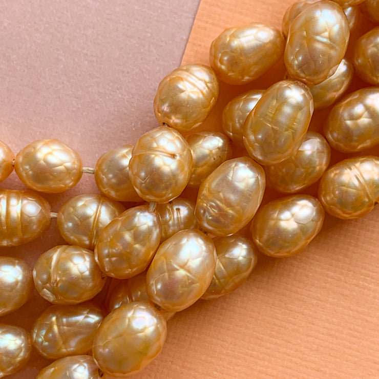 6mm Vintage Yellow Kakamba Glass Strand - Christine White Style