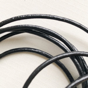 2mm Black Round Leather Cord - 6'