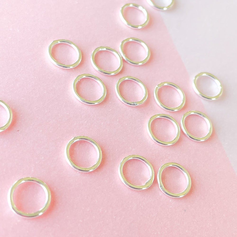8mm Silver Soldered Jump Ring - 10 Pack