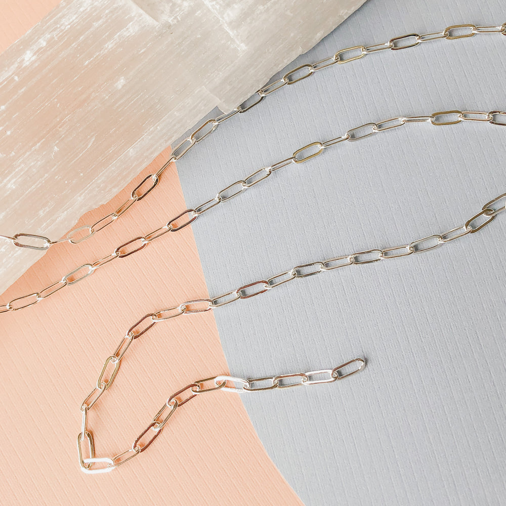 7mm Shiny Electroplated Silver Flat Paperclip Chain