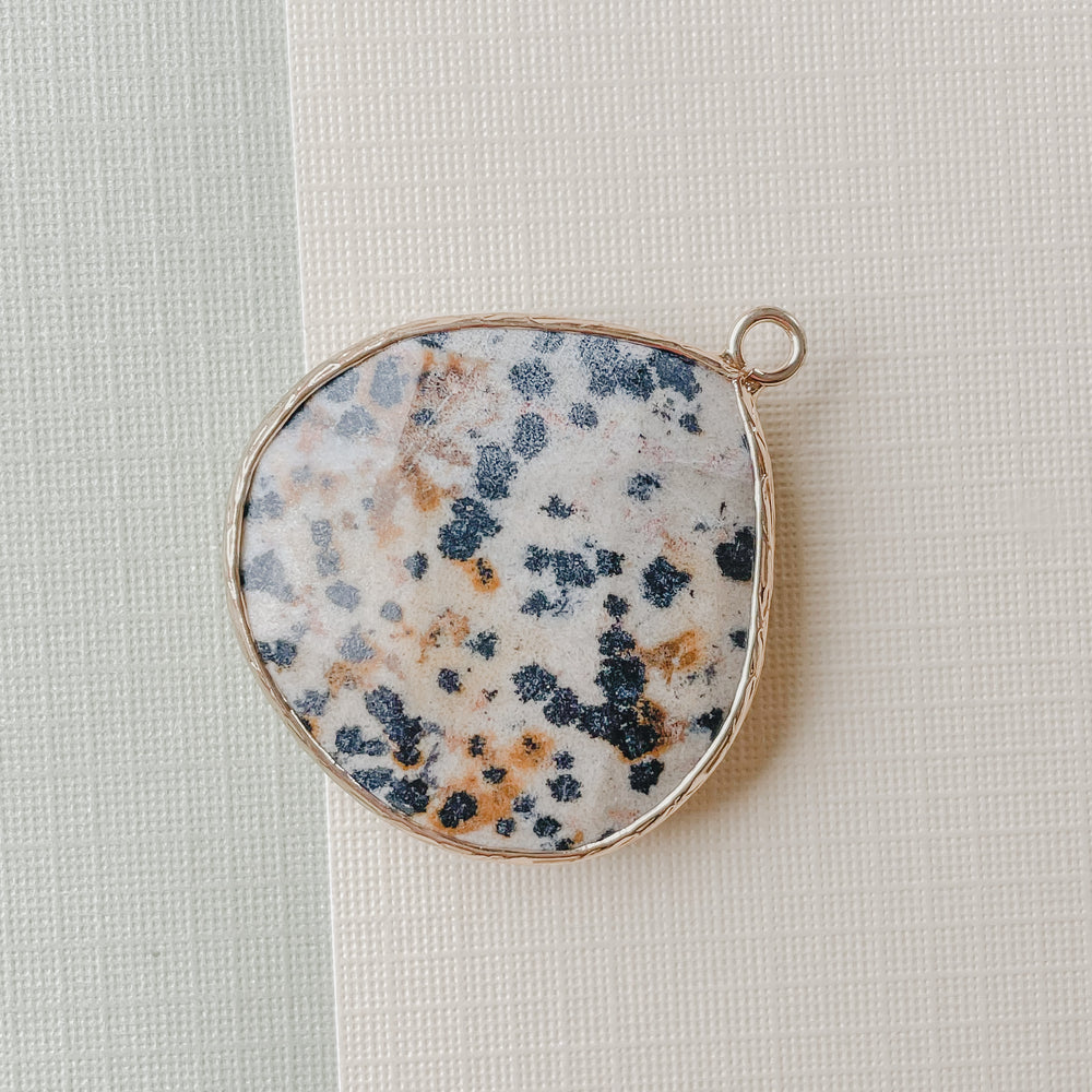 Load image into Gallery viewer, 28mm Dalmatian Jasper Gold Bezel Pendant