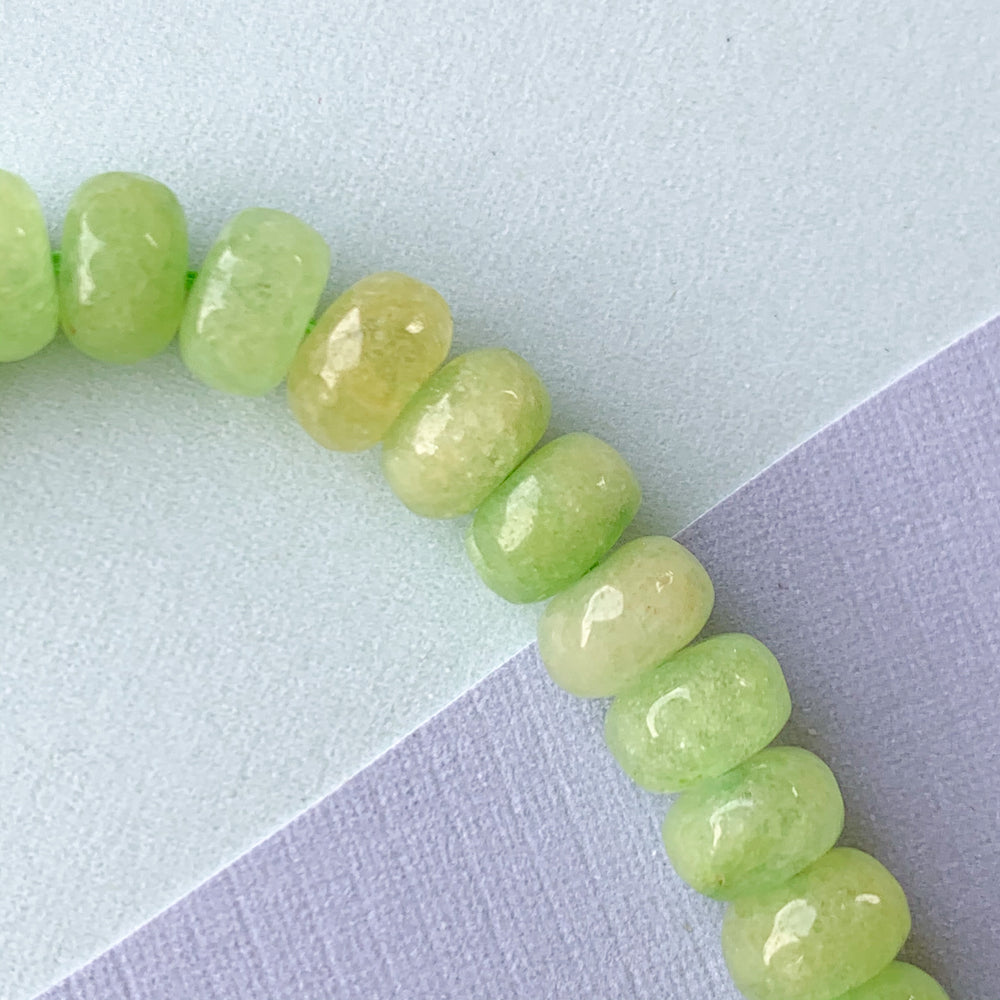 8mm Apple Green Faceted Dyed Jade Rondelle Strand