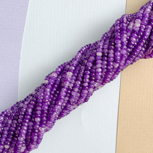 4mm Purple Faceted Dyed Jade Rondelle Strand
