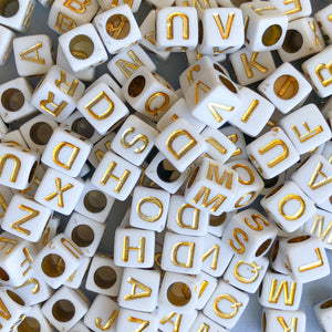 6mm Gold Letter Acrylic Cube Bead Pack