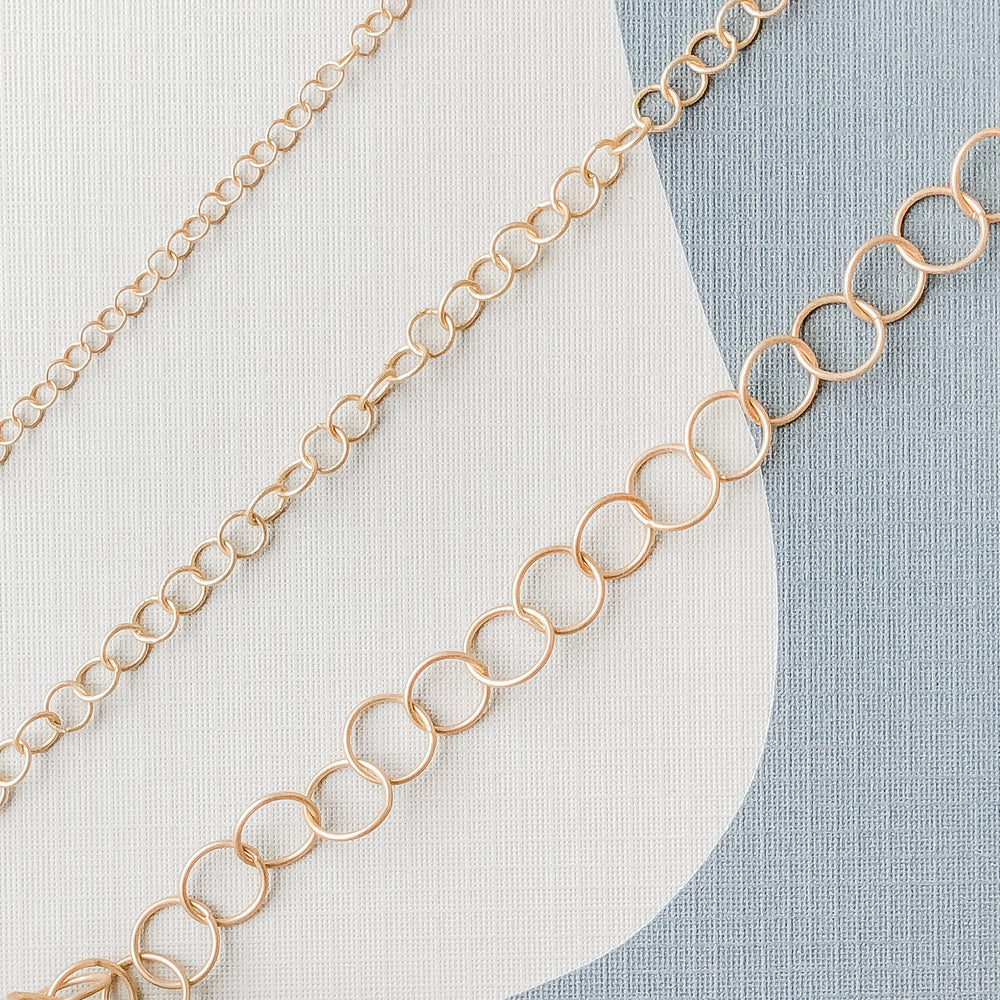 3-8mm Brushed Gold Round Cable Chain