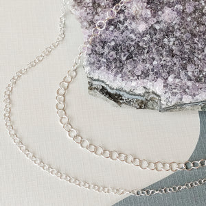 3-5mm Shiny Silver Cable Chain - Christine White Style