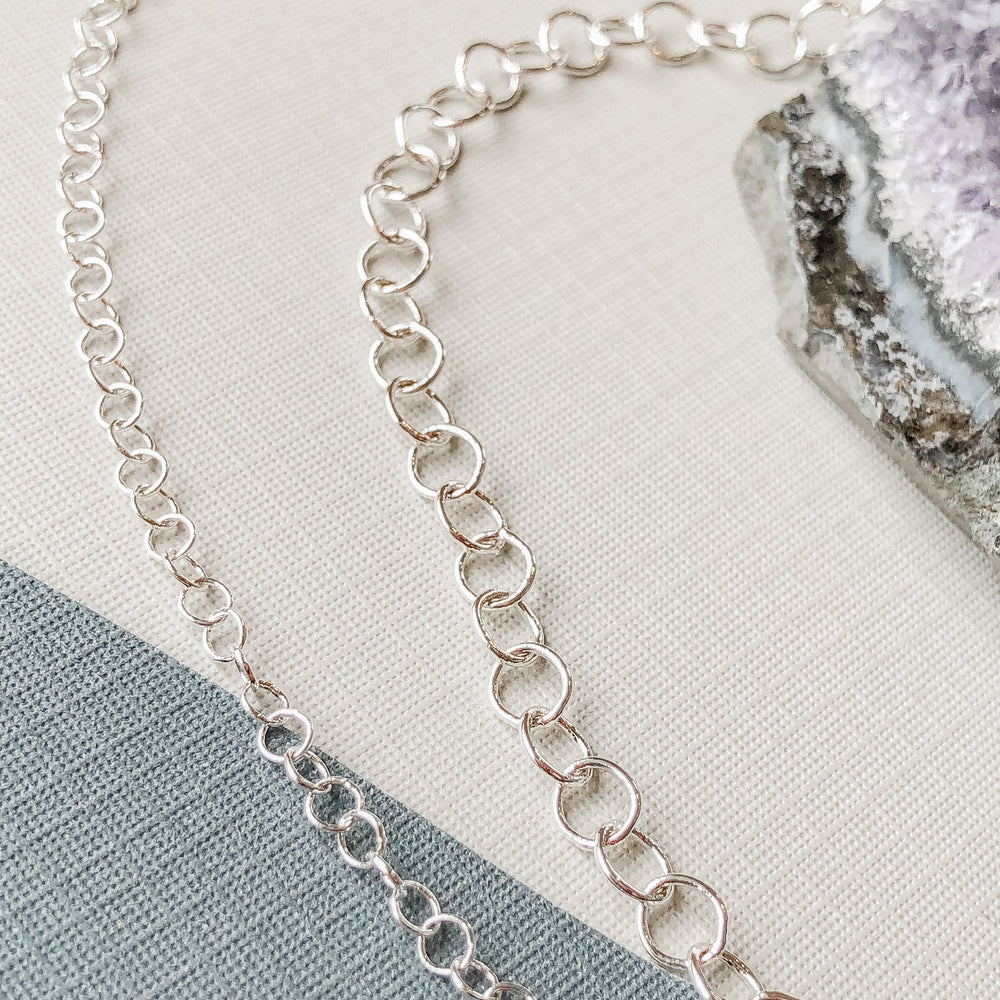 3-5mm Shiny Silver Round Cable Chain - Christine White Style