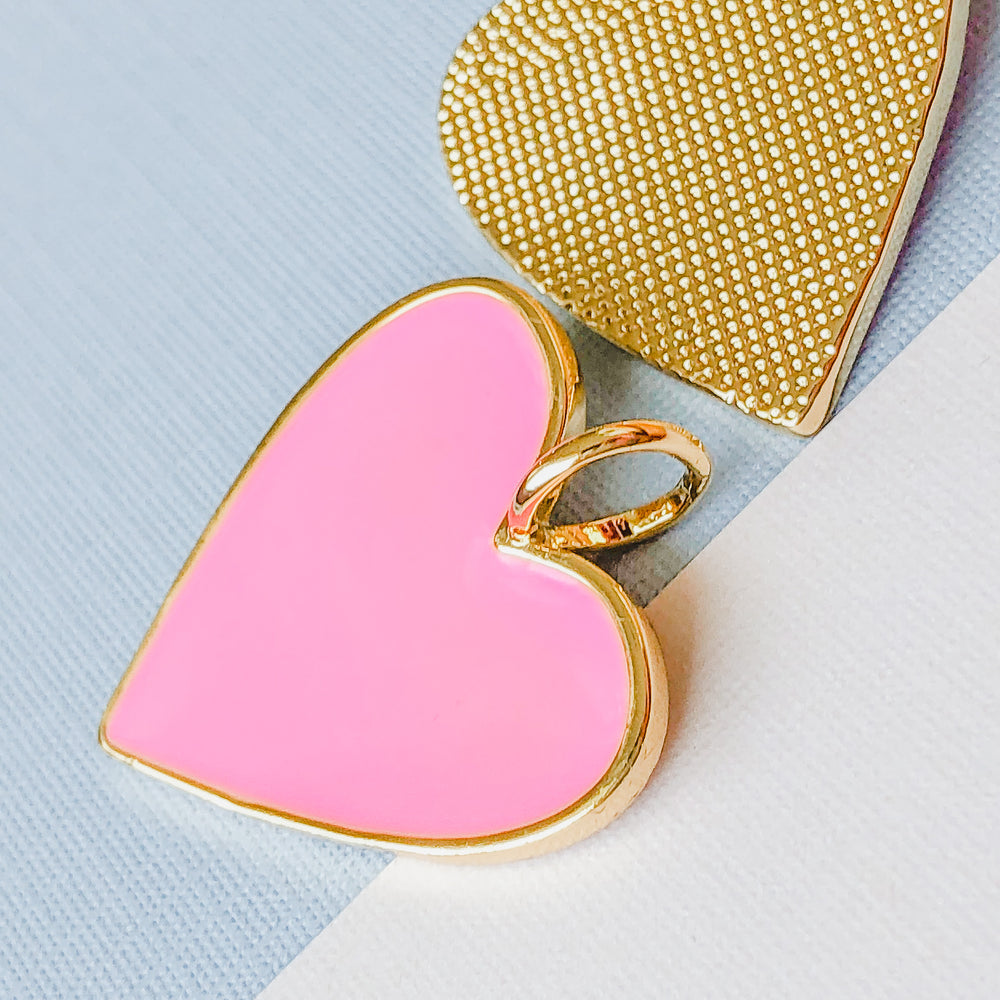 24mm Pink Enamel Gold Heart Pendant