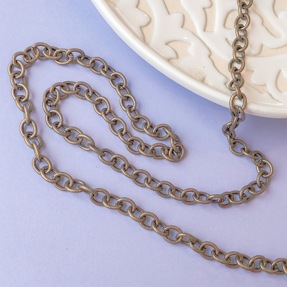 11mm Matte Bronze Plated Cable Chain