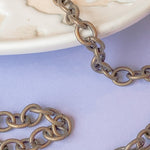11mm Matte Bronze Plated Cable Chain - Christine White Style