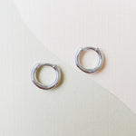 12mm Shiny Silver Huggie Pair