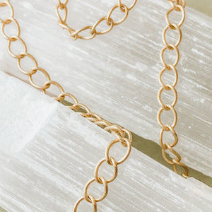 5mm Brushed Gold Curb Chain - Christine White Style