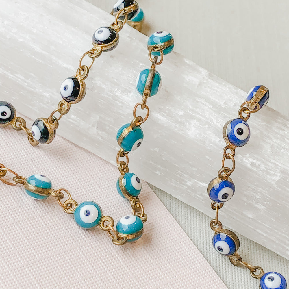 4mm Evil Eye Chain - Various Colors - Christine White Style