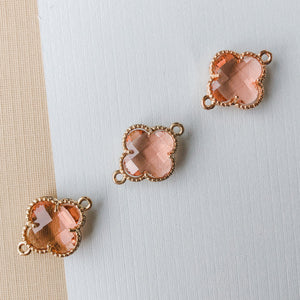 16mm Blush Crystal Gold Quatrefoil Connector