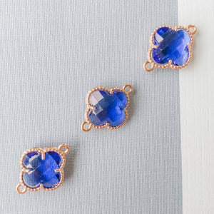 16mm Sapphire Crystal Gold Quatrefoil Connector
