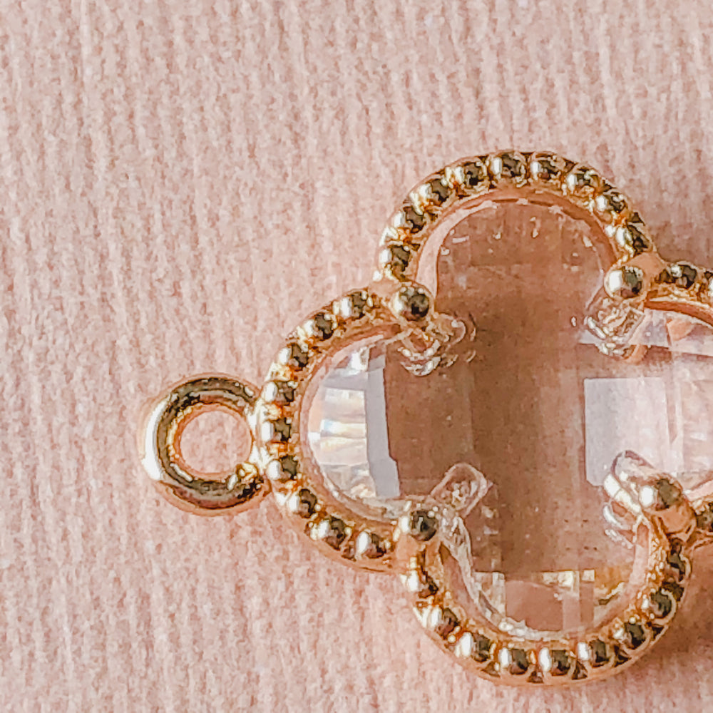12mm Clear Crystal Gold Quatrefoil Connector