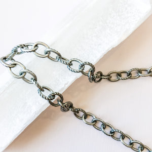 8mm Etched Distressed Silver Plated Chain