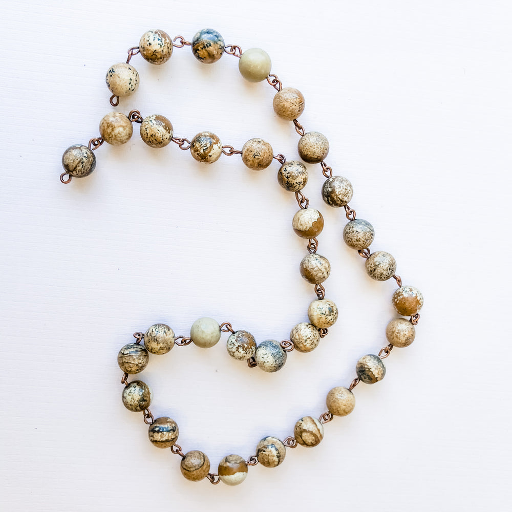 Load image into Gallery viewer, 7mm Jasper Bead Chain - Christine White Style