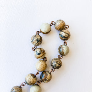 7mm Jasper Bead Chain - Christine White Style