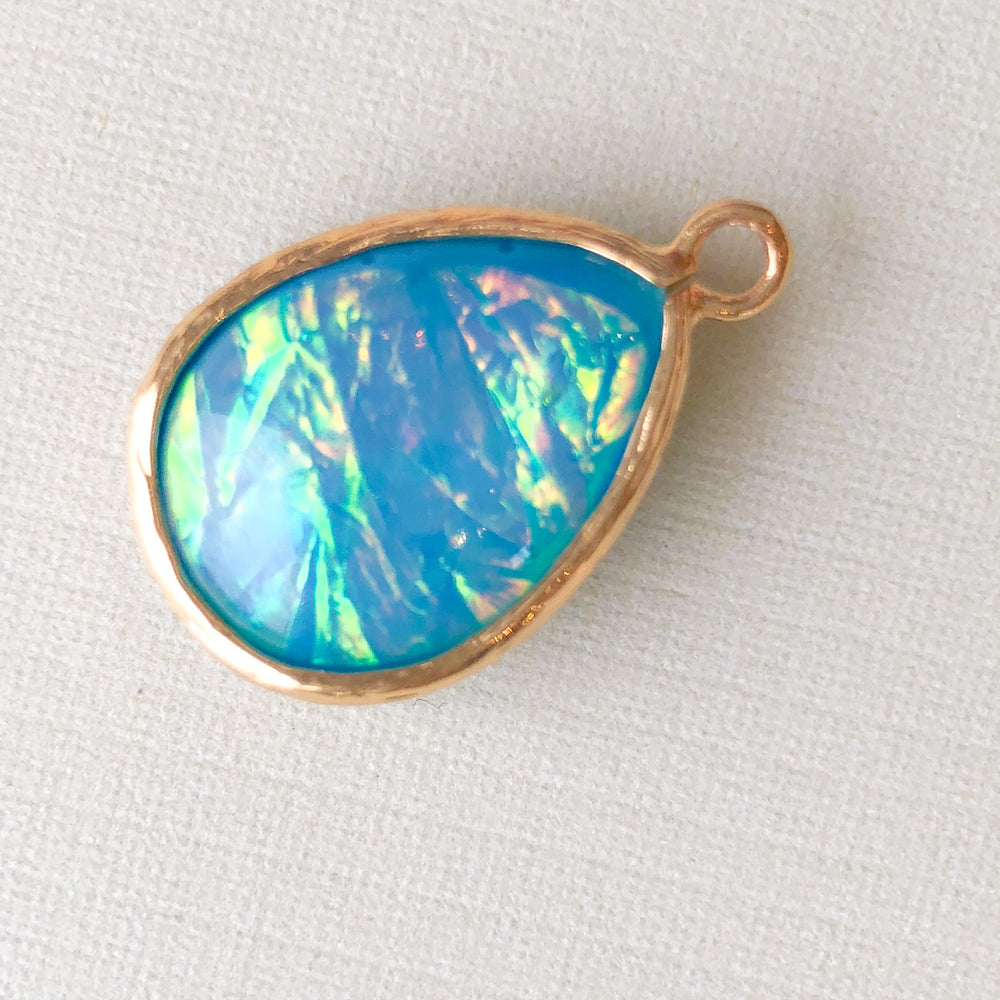 24mm Gold Plated Blue Dichroic Glass Teardrop Charm - 2 Pack