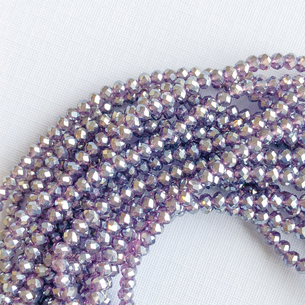 3.5mm Diamond Finish Purple Faceted Chinese Crystal Rondelle Strand