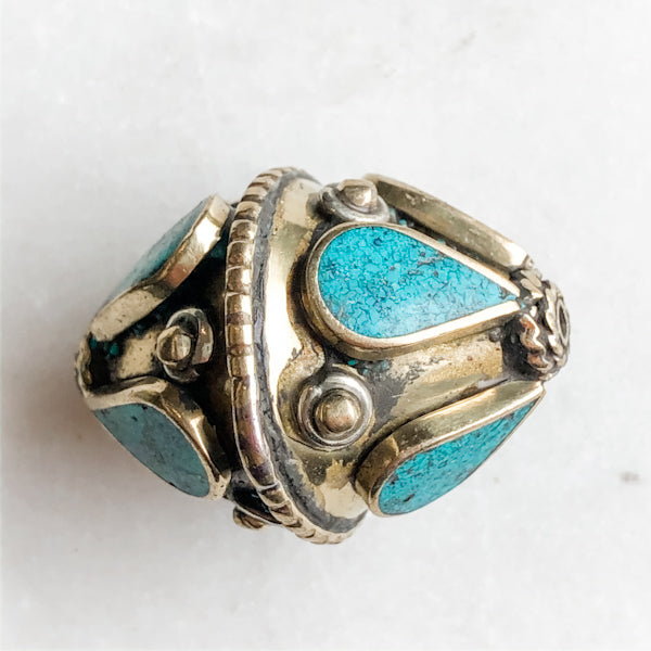 33mm Ornate Faux Turquoise and Tibetan Brass Bicone Bead - Christine White Style