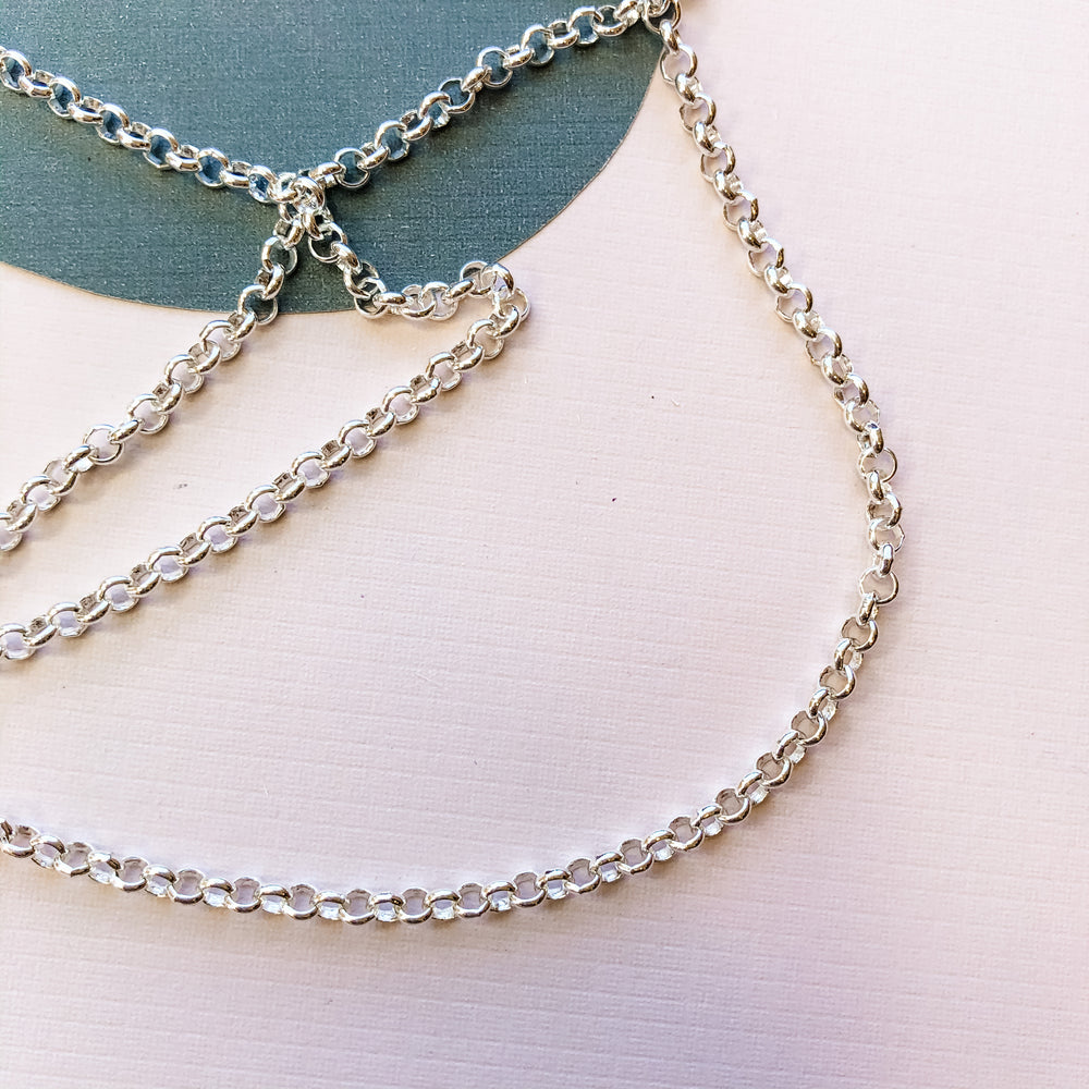 4mm Silver Electroplated Rolo Chain