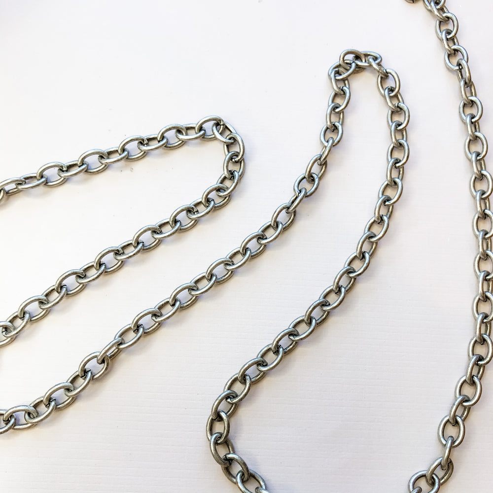 12mm Distressed Silver Oval Cable Chain
