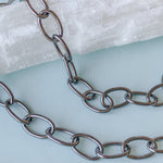 15mm Shiny Gunmetal Oval Chain