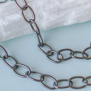 Load image into Gallery viewer, 10mm Shiny Gunmetal Oval Chain