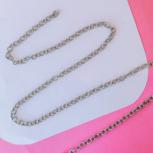 8mm Plated Distressed Silver Oval Cable Chain
