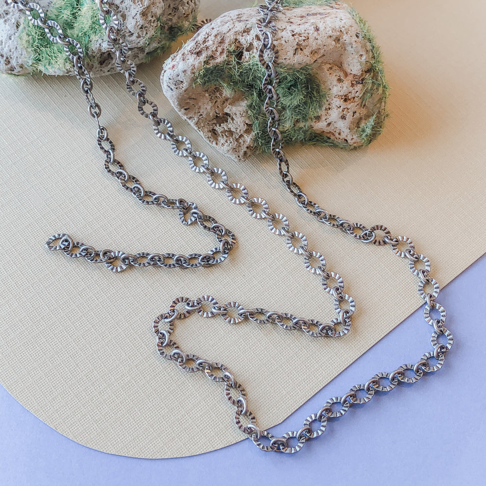 5mm Crinkled Distressed Silver Chain