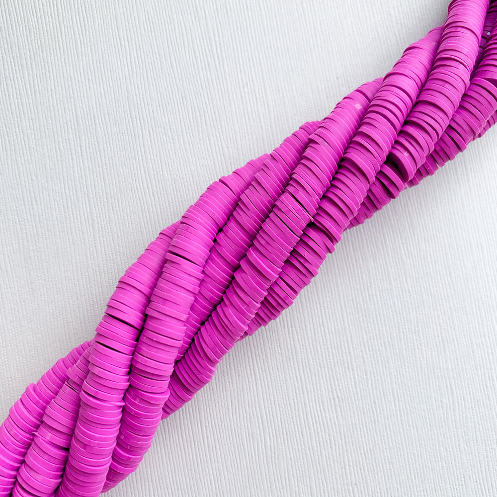 8mm Royalish Purple Polymer Clay Strand