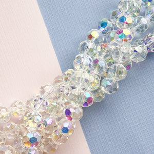 10mm Clear AB Faceted Chinese Crystal Rounds Strand