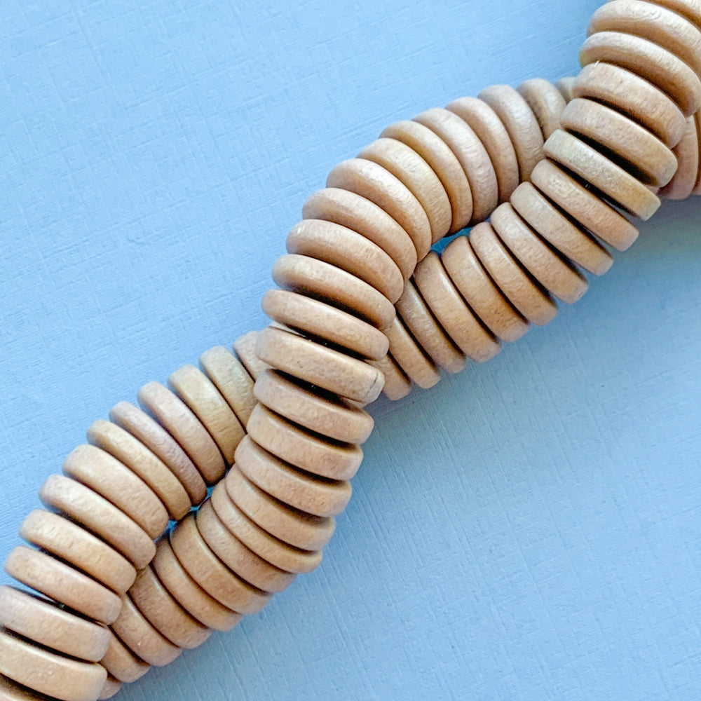 15mm Wicker Wood Rondelle Strand - Christine White Style