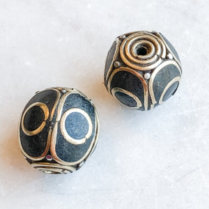18mm Tibetan Brass Detailed Ladybug Rounds - 2 Pack - Christine White Style