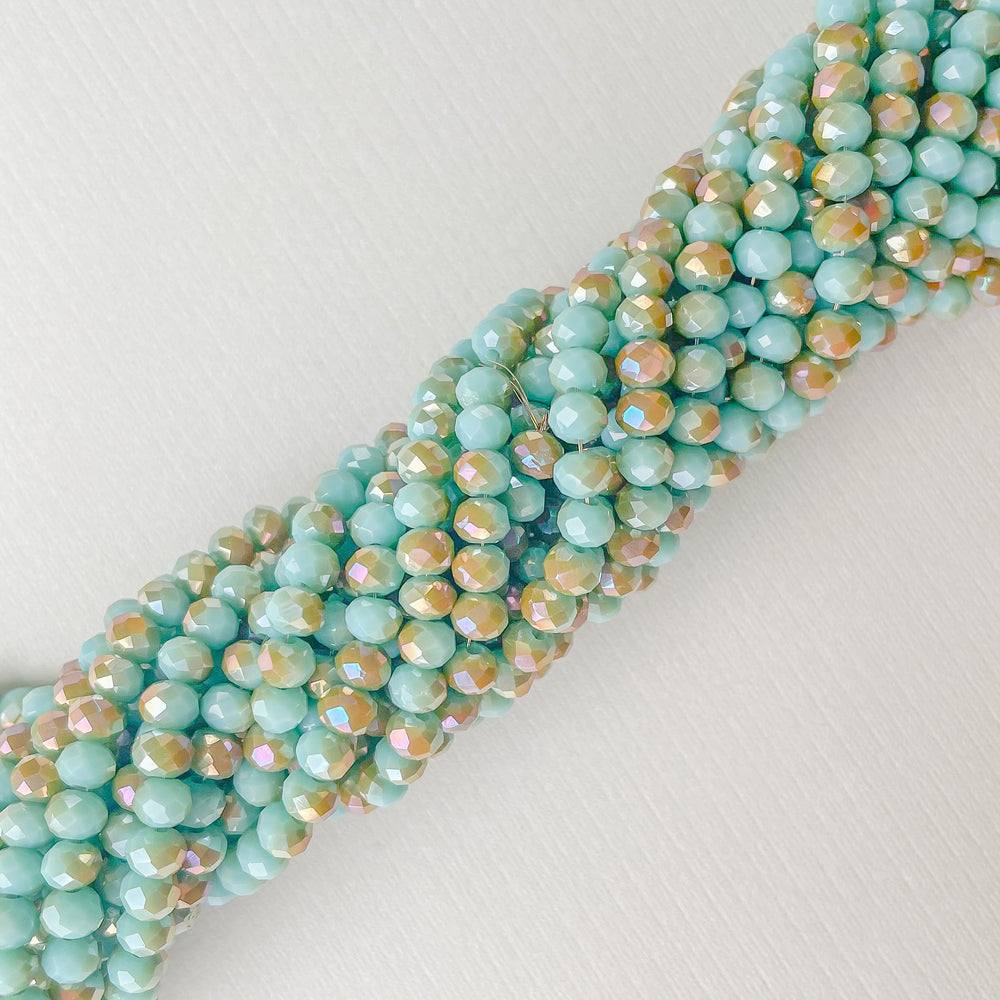 4mm Two-Tone Turquoise Faceted Chinese Crystal Rondelle Strand