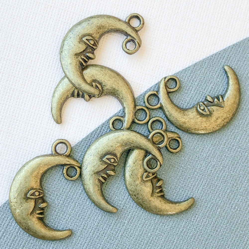 18mm Antique Bronze Crescent Moon Charm - 6 Pack