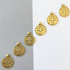 16mm Gold Pewter Hammered Cross Coin Charm - 6 Pack