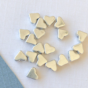 5mm Center-Drilled Silver Pewter Heart Bead - 20 Pack