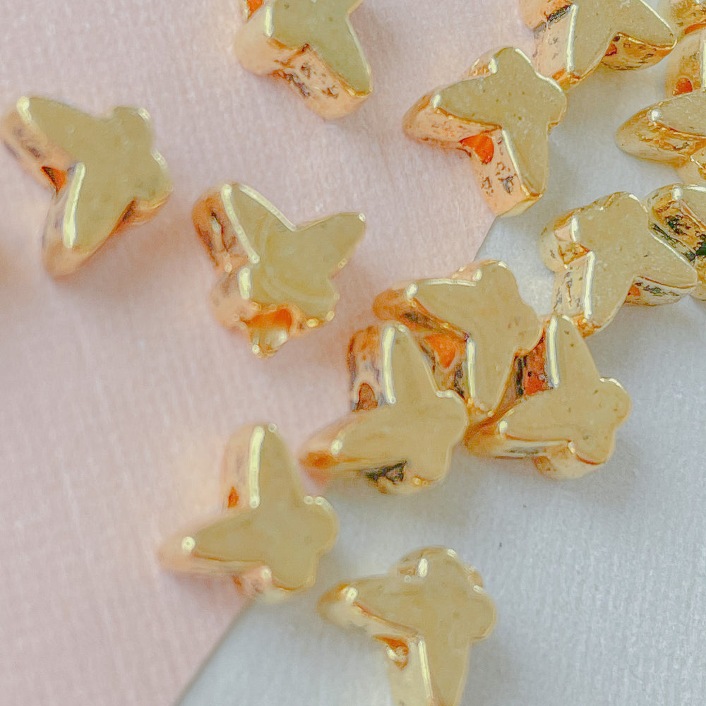 6mm Gold Pewter Butterfly Beads - 20 Pack