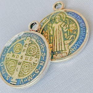 Load image into Gallery viewer, 21mm Benedictine Medal Pewter Pendant - 3 Pack