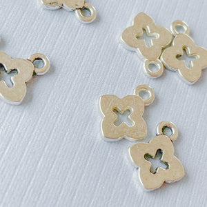 Load image into Gallery viewer, 10mm Silver Pewter Quatrefoil Cut Out Charm - 15 pack