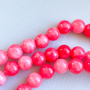 Load image into Gallery viewer, 8mm Hibiscus Pink Dyed Jade Rounds Strand