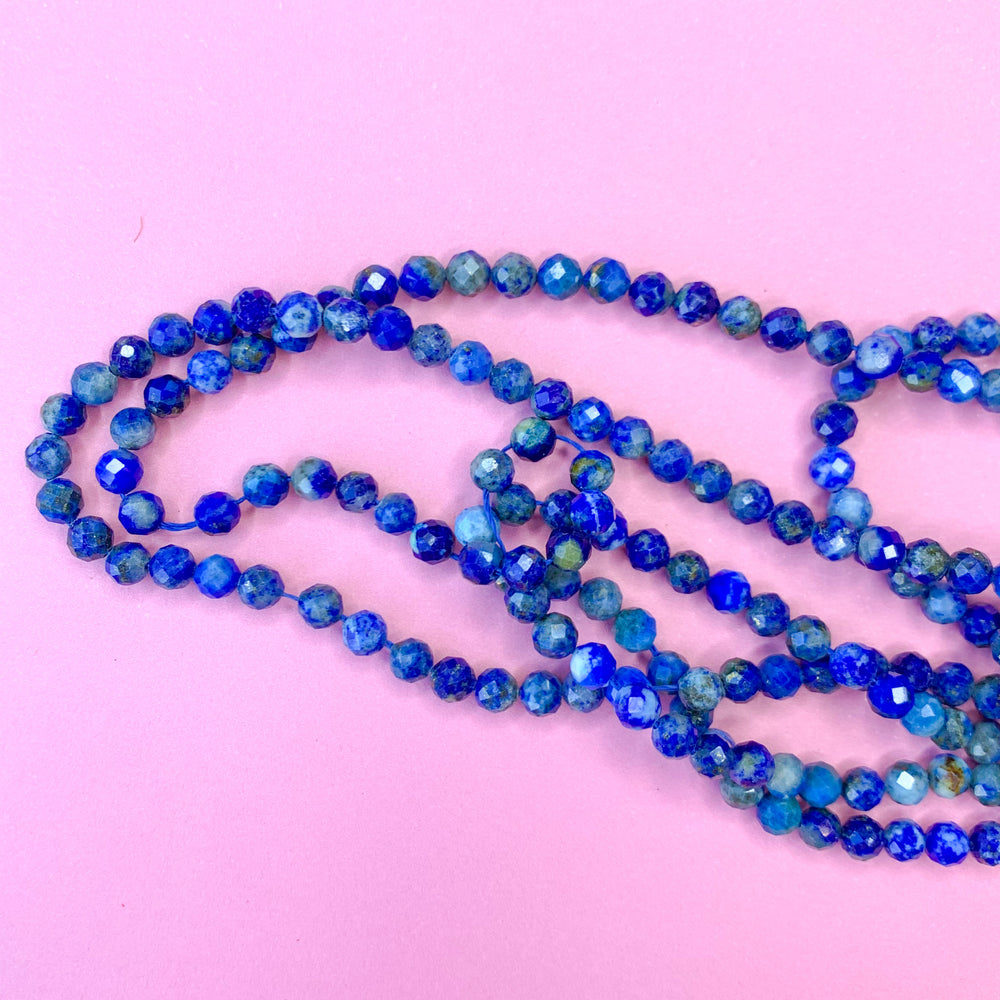 4mm Faceted Lapis Rounds Strand